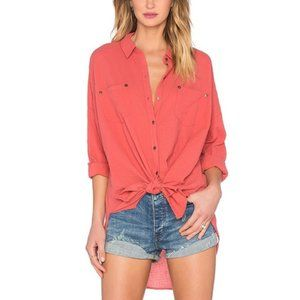 Free People Love Her Madly Puckered Button Blouse